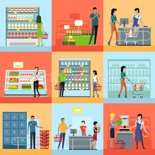 Set of Shopping in Supermarket Concepts Vector.  Stock photo © robuart