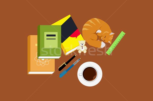 Workspace образование кошки книга кофе икона Сток-фото © robuart