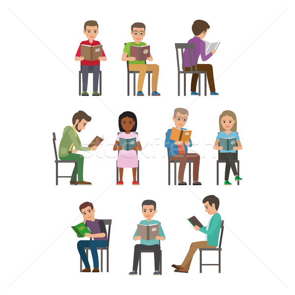 People Seating and Reading Textbook Flat Vector  Stock photo © robuart