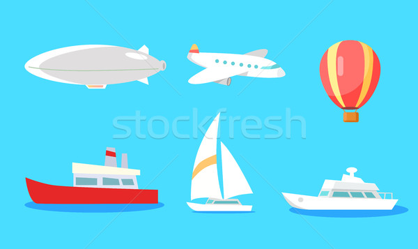 Transportation Collection on Blue Background. Stock photo © robuart