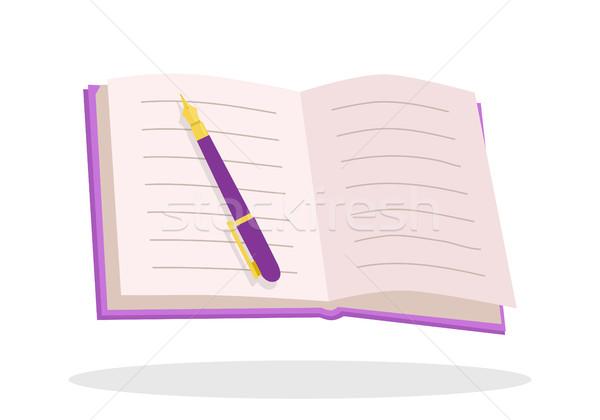 Foto stock: Caderno · caneta · projeto · bloco · de · notas · vazio