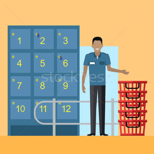 Lockers and Security Personnel in Supermarket  Stock photo © robuart