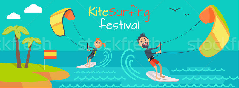 Kitesurfing Festival Banner. Style of Kiteboarding Stock photo © robuart