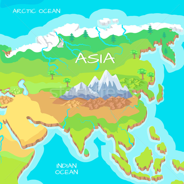 Asia Isometric Map with Natural Attractions Stock photo © robuart