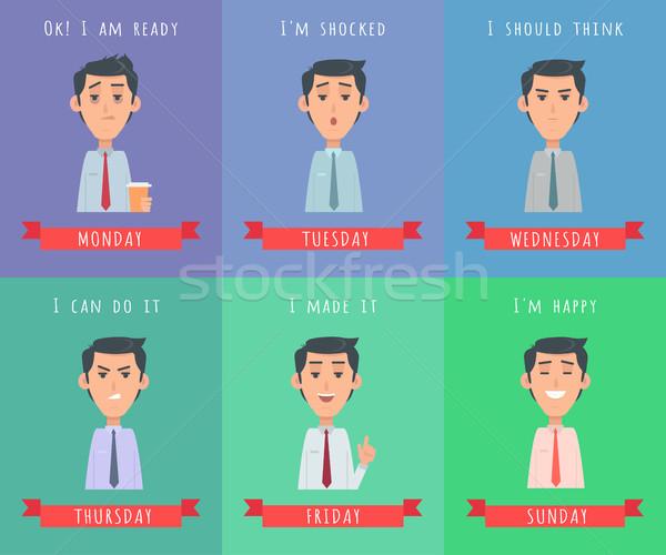 Adam ayarlamak avatar duygular neden Stok fotoğraf © robuart