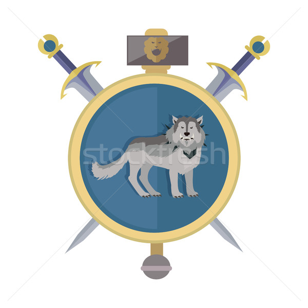Grey Wolf in Gold Circle. Game Object Stock photo © robuart