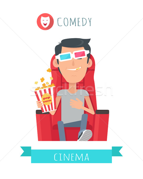 Comedy Story. Man in Cinema Seat Entertainment Stock photo © robuart