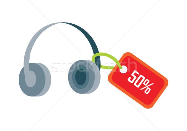 Fülhallgató piros vásár címke ötven százalék Stock fotó © robuart