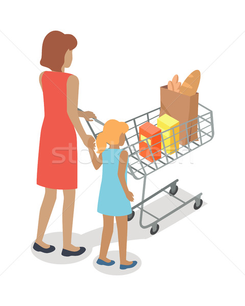 Woman and Girl with Cart Purchases in Flat Design Stock photo © robuart