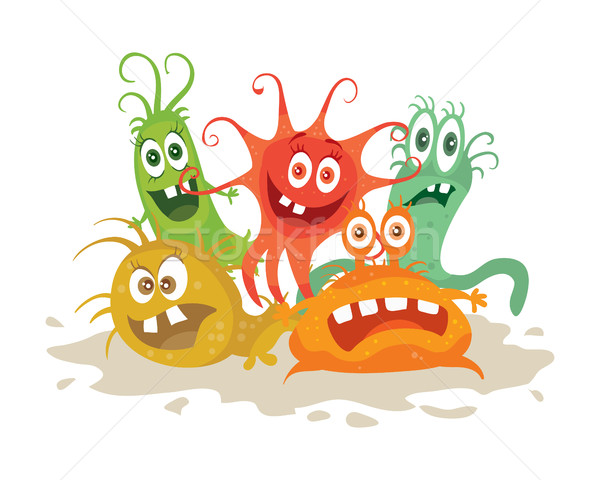 Set of Cartoon Monsters. Funny Smiling Germs. Stock photo © robuart
