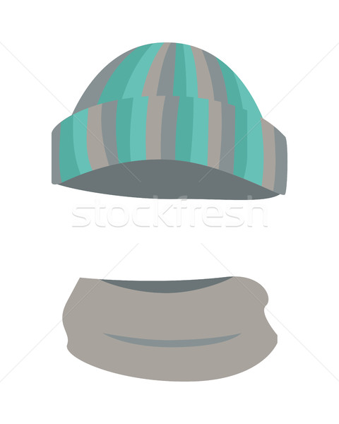 Hat. Woolen Warm Striped Headwear and Grey Scarf Stock photo © robuart