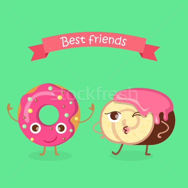 Sweets. Best Friends. Doughnut and Swiss Roll Stock photo © robuart