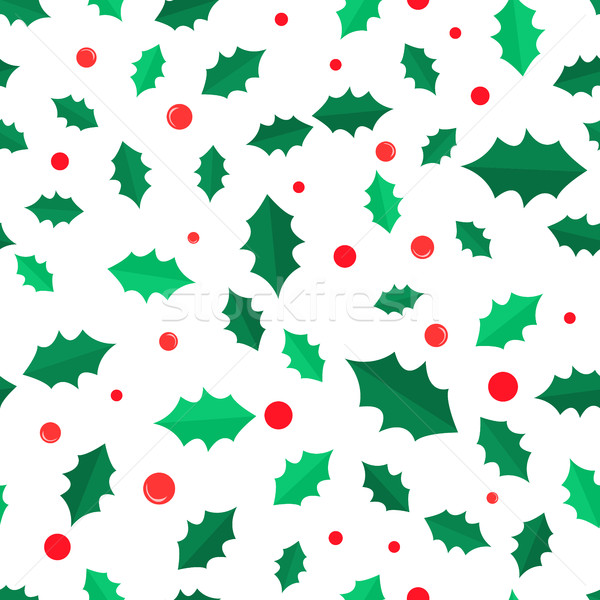 Mistletoe Tree with Red Balls Seamless Pattern. Stock photo © robuart