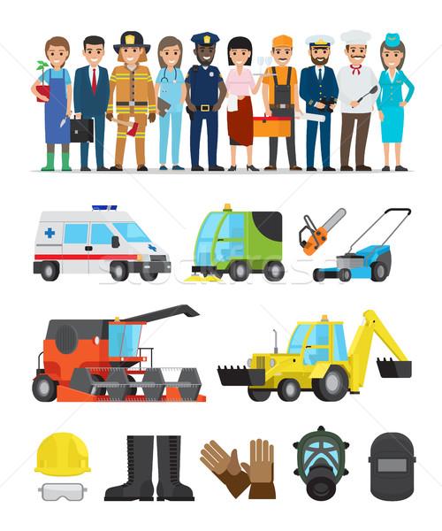 行業 設備 集 白 向量 海報 商業照片 © robuart