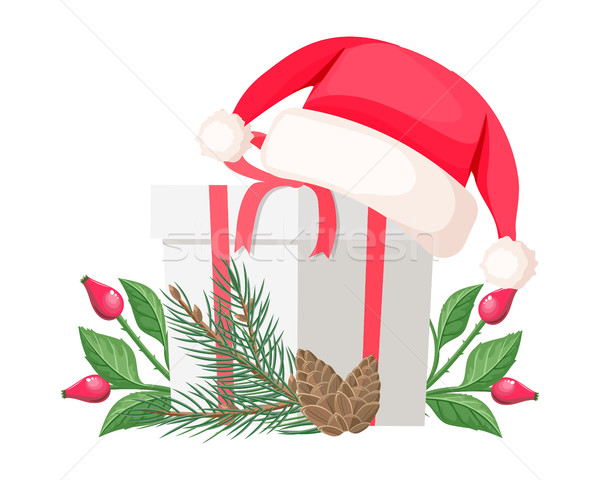 Stock photo: Santa Claus Hat Lying on Gift Bow with Red Ribbon