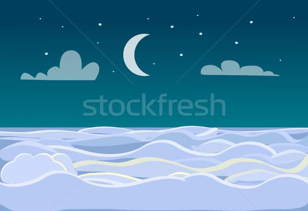 Tél díszlet mező sötét éjszaka fényes Stock fotó © robuart