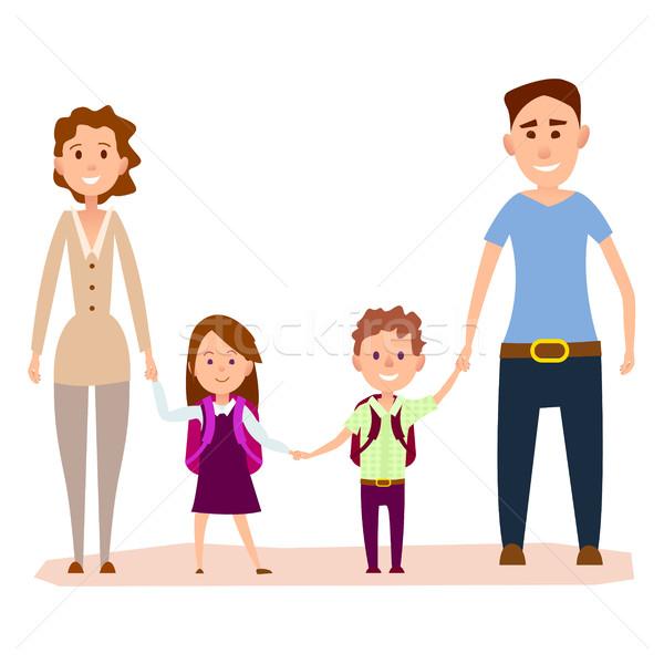 Boldog rajz család kicsi gyerekek illusztráció Stock fotó © robuart