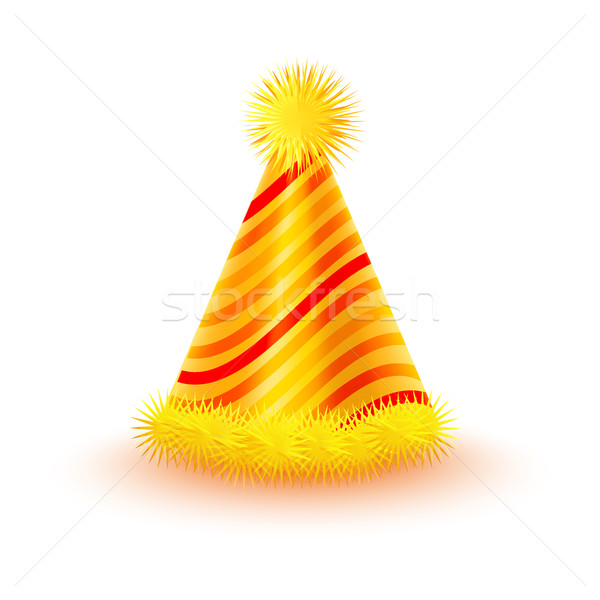 Striped Yellow Party Hat with Pompons Vector Icon Stock photo © robuart