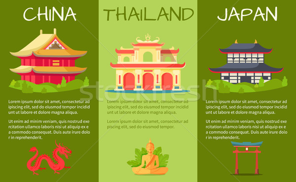 Asian Countries Touristic Vector Banners Set Stock photo © robuart