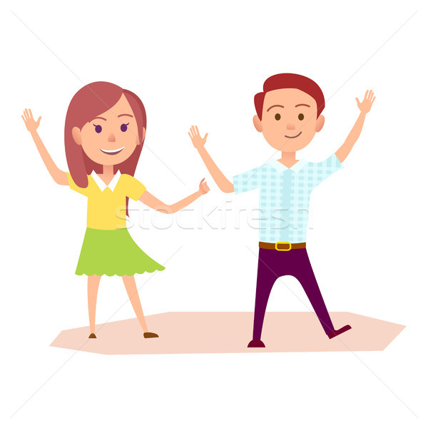 Girl and Boy Raise Their Hands Up Illustration Stock photo © robuart