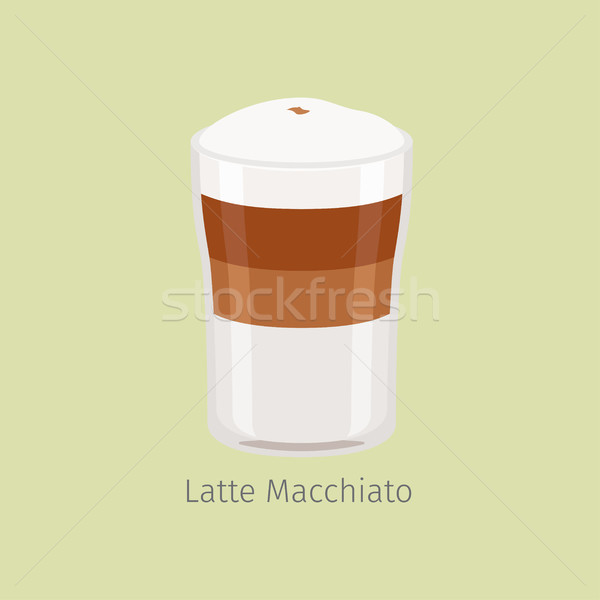 Glass Cup of Layered Latte Macchiato Flat Vector Stock photo © robuart