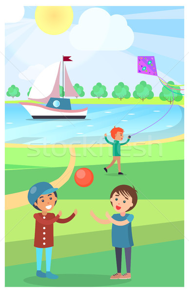 Kids Play with Ball in Public Park Vector Poster Stock photo © robuart