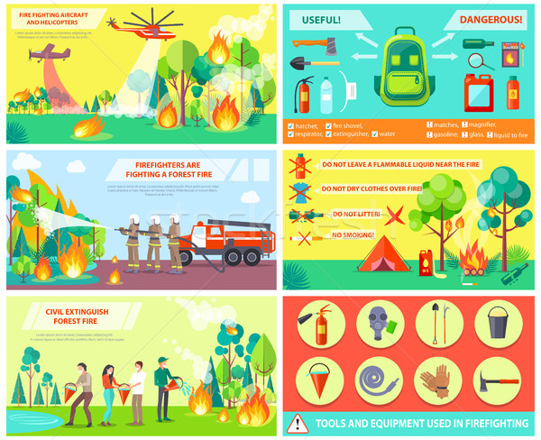 Fuego forestales reglas collage personas Foto stock © robuart