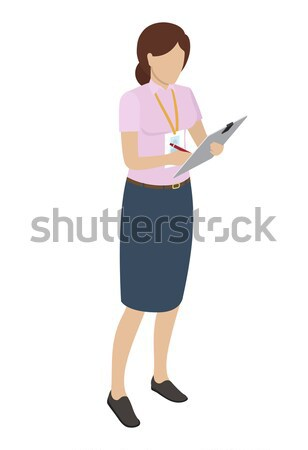 Stock photo: Woman with Name Badge Writting on Gray Tablet