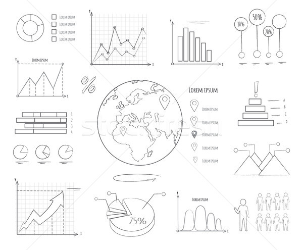 Graphics and Charts Black and White Templates Stock photo © robuart