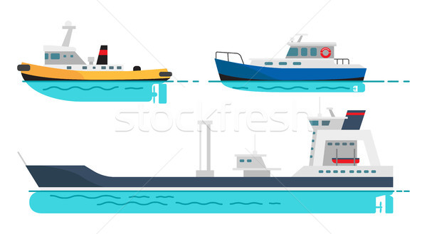 Fishing Boat, Small Steamer and Large Cargo Ship Stock photo © robuart