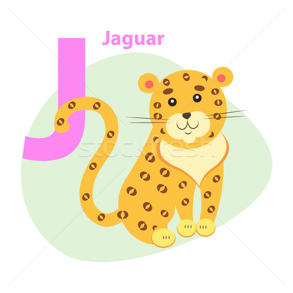 Zoo ABC Letter with Cute Jaguar Cartoon Vector Stock photo © robuart