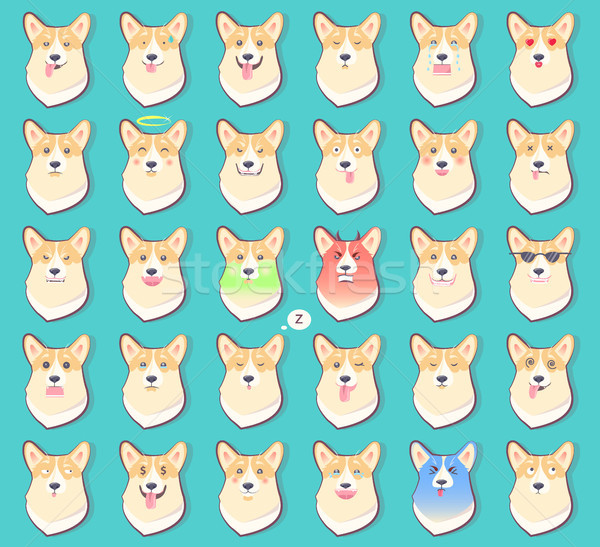 Set of Stickers with Emotions of Dog Vector Stock photo © robuart