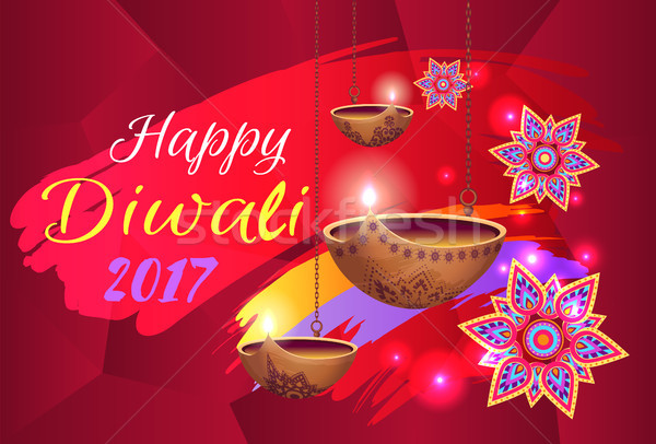Happy Diwali 2017 Banner with Flowers and Lamps Stock photo © robuart