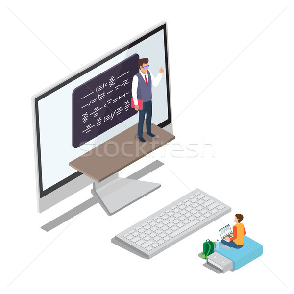 Stock photo: Online Learning Concept Vector with Teacher Pupil