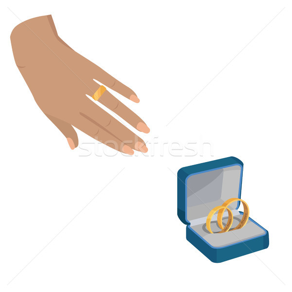 Golden Wedding Rings with Love Forever Engravings Stock photo © robuart