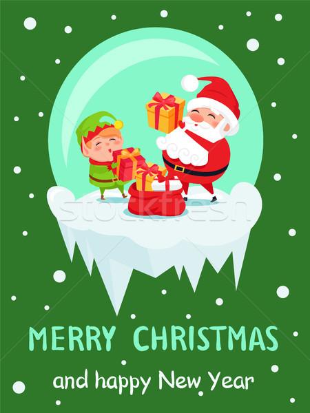 Stockfoto: Gelukkig · nieuwjaar · vrolijk · christmas · poster · elf
