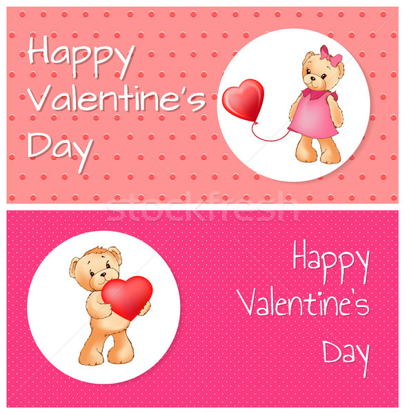 Stock photo: Poster with Cute Teddy Bears Holding Heart Balloon