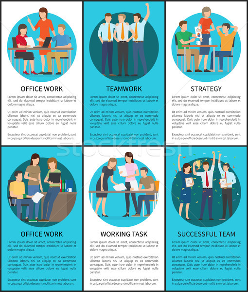 Set of Office Work Successful Teamwork Posters Stock photo © robuart