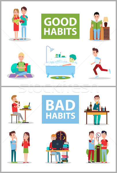 Good and Bad Habits Poster Set Vector Illustration Stock photo © robuart