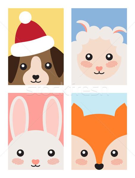 Set of Animals Covers Design Fox Rabbit Dog Sheep Stock photo © robuart