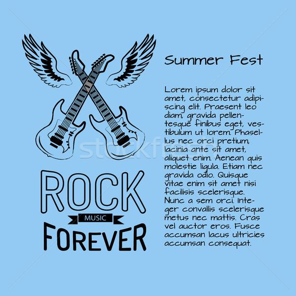 Rockmuziek voor altijd zomer poster twee elektrische Stockfoto © robuart