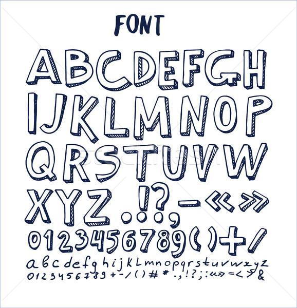 Fonts Hand Drawn Elements Alphabet Written Ink Pen Stock photo © robuart