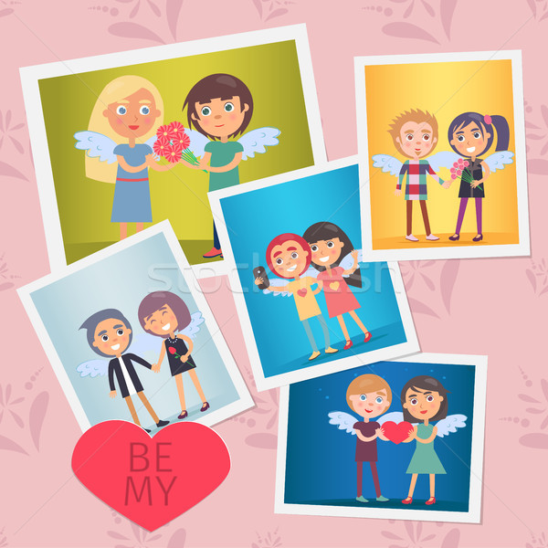 Set of Valentines Day Cards Vector Illustration Stock photo © robuart