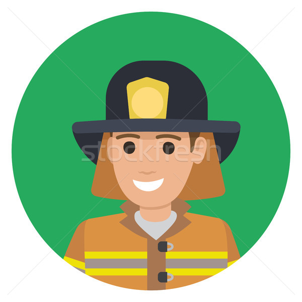 Cheerful Firefighter in Protective Suit and Black Hat Stock photo © robuart