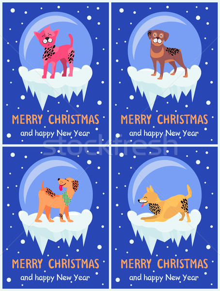 Merry Christmas and Happy New Year Festive Posters Stock photo © robuart