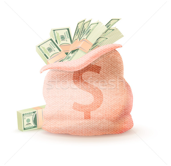 Abrir saco cifrão completo dinheiro Foto stock © robuart