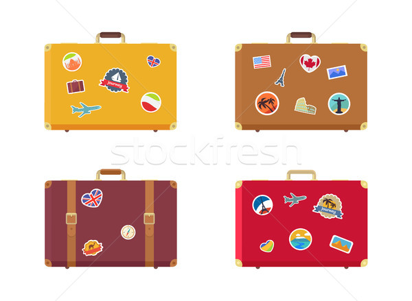 Time to Travel Suitcase with Magnets Souvenirs Stock photo © robuart