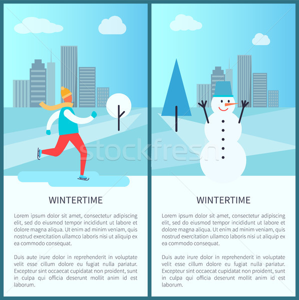 Wintertime in Park Posters Vector Illustration Stock photo © robuart