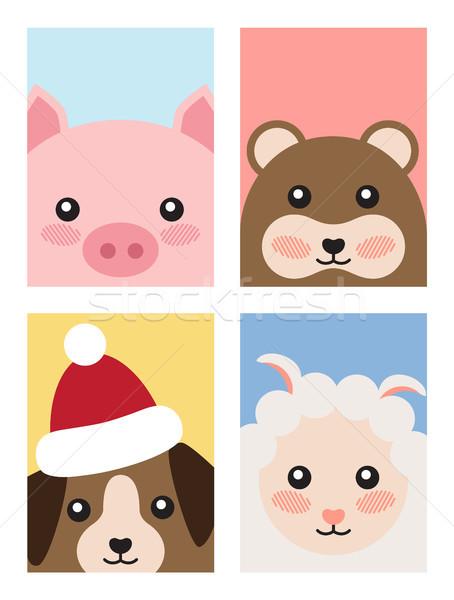 Set of Animals Covers Design Pig Mouse Dog Sheep Stock photo © robuart