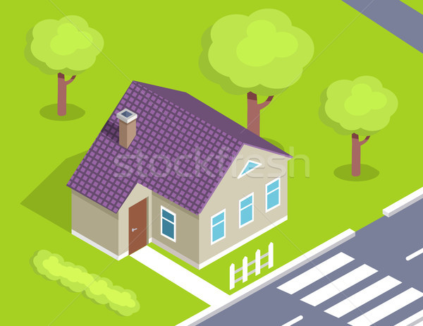Modern House with Door on Left Side near Road Stock photo © robuart